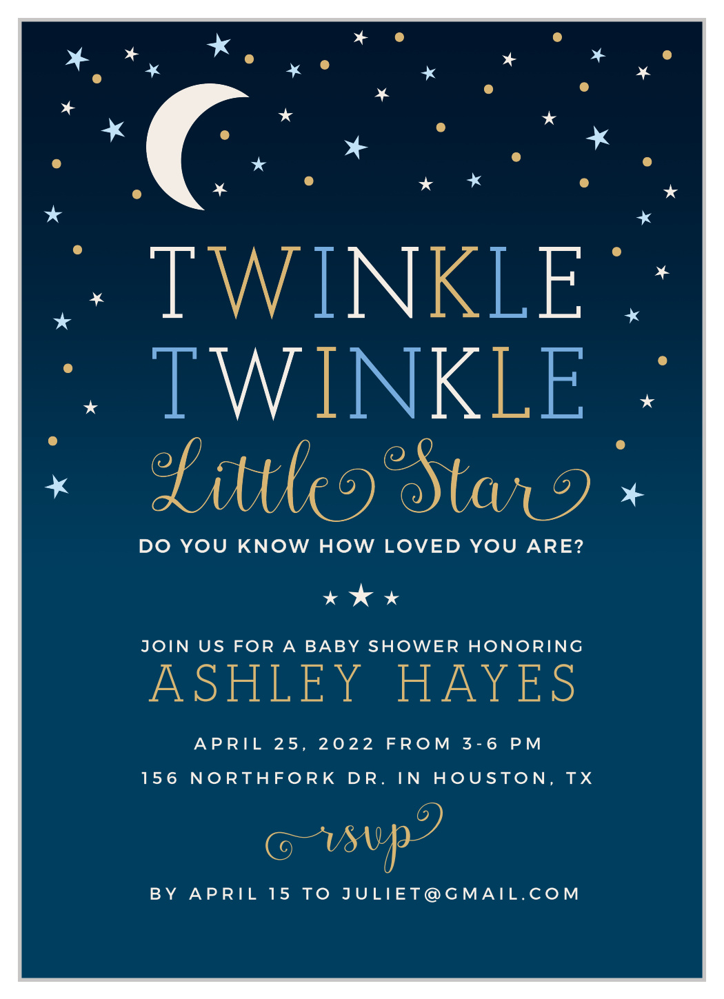 Moon and Star Twinkle Little Star Baby Shower Baptism Christening Birthday Invitation Invite to the Moon and Back