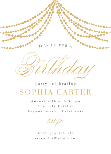 Glowing Glam Adult Birthday Party Invitations