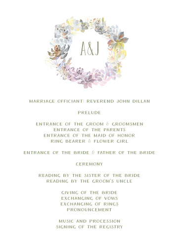 Succulent Wreath Wedding Programs