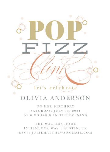 Bubbly Champagne Adult Birthday Party Invitations