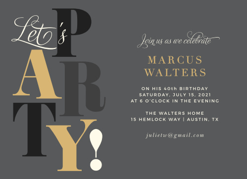 Big Party Adult Birthday Party Invitations