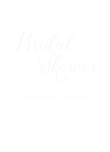 big script clear bridal shower invitations
