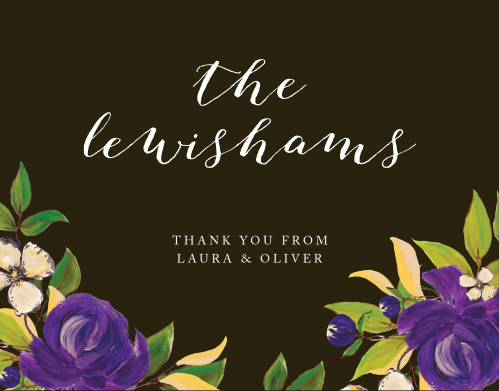 Purple Blooms Wedding Thank You Cards