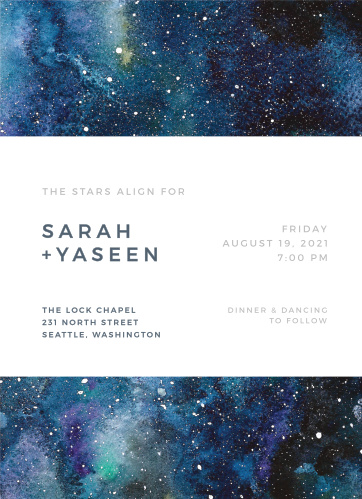 Starry Night Wedding Invitations Match Your Color Style Free