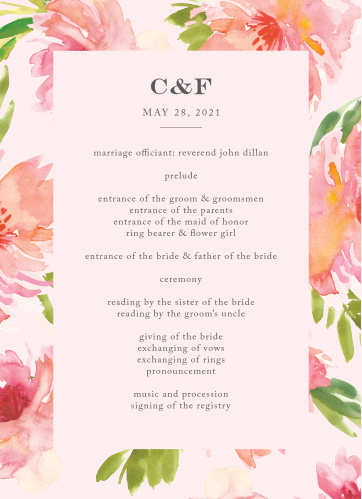 Botanical Gardens Wedding Programs