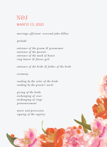 Colorful Oil Paint Wedding Programs