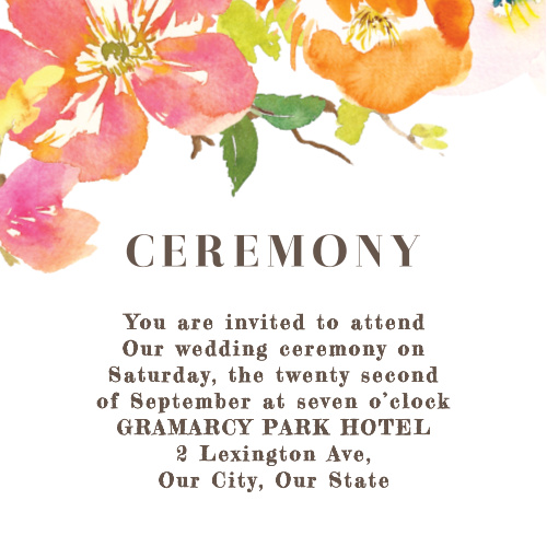 Colorful Garden Ceremony Cards