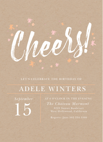 Kraft Cheers Adult Birthday Party Invitations
