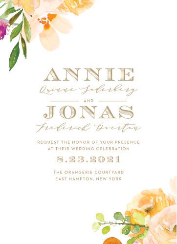 Peachy Flowers Wedding Invitations
