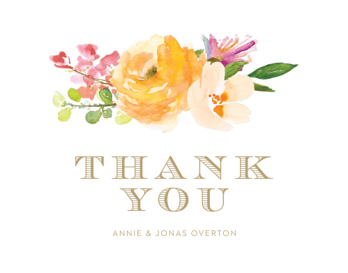 Peachy Flowers Wedding Thank You Cards