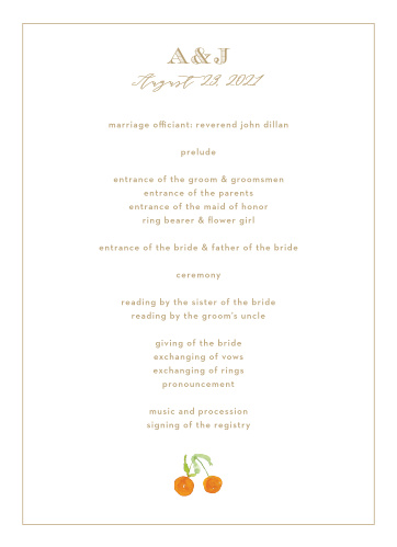 Peachy Flowers Wedding Programs