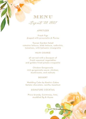 Peachy Flowers Wedding Menus