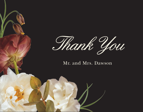 Romantic Flowers Wedding Thank You Cards