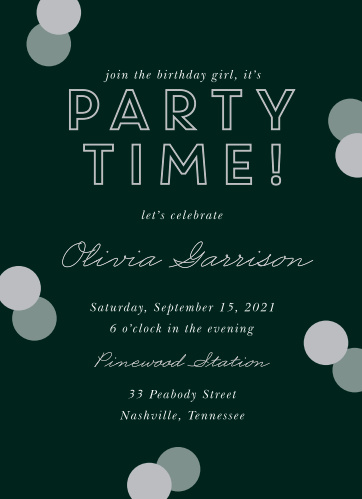 Classic Confetti Adult Birthday Party Invitations