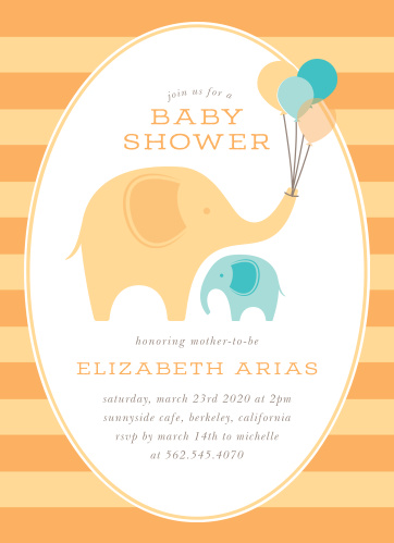 Little Elephant Baby Shower Invitations