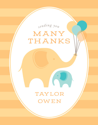Little Elephant Baby Shower Thank You Cards