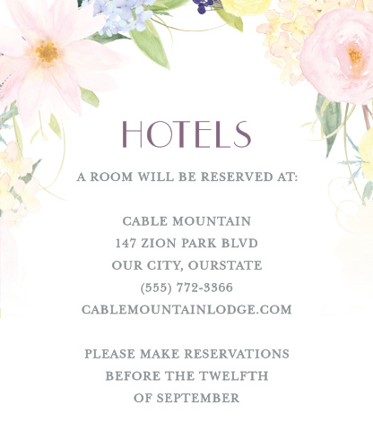 Spring Watercolors Accommodation Cards