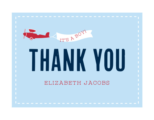 Airplane Banner Baby Shower Thank You Cards