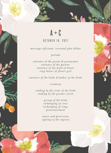 Spring Rose Wedding Programs