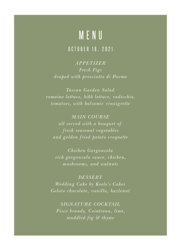 Spring Rose Wedding Menus