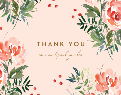 Winter Berries Wedding Thank You Cards
