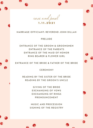 Winter Berries Wedding Programs