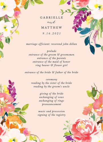 Spring Peach Wedding Programs