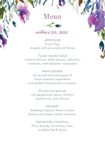 Lavender Blooms Wedding Menus
