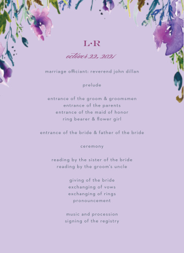 Lavender Blooms Wedding Programs