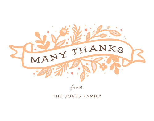 Floral Banner Baby Shower Thank You Cards