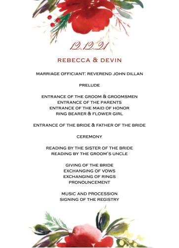 Christmas Pine Wedding Programs