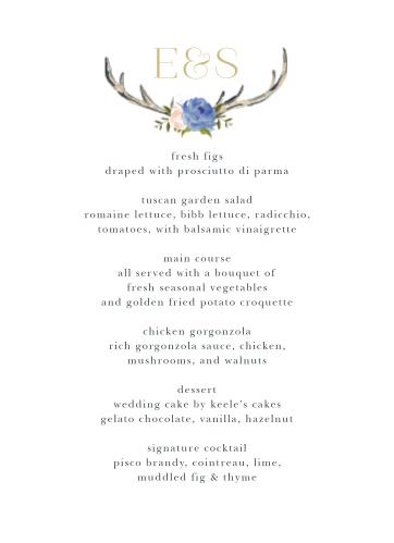 Floral Antlers Wedding Menus