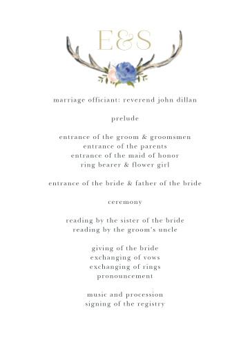 Floral Antlers Wedding Programs