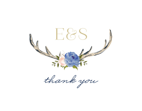 Floral Antlers Wedding Thank You Cards