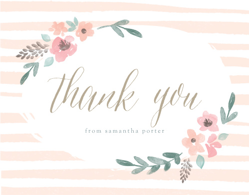 stripes flowers baby shower thank you cards