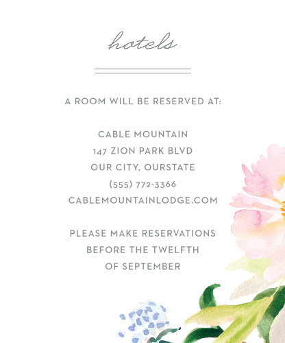 Summer Bouquet Accommodation Cards
