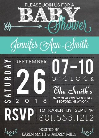 chalkboard and flags baby shower invitations
