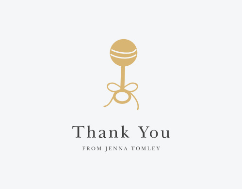 Golden Rattle Baby Shower Thank You Cards