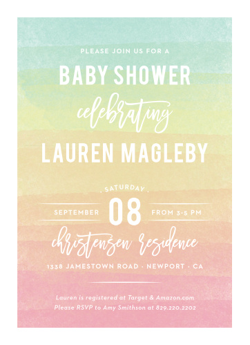 Rainbow Wash Baby Shower Invitations