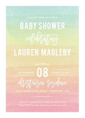 Rainbow Wash Baby Shower Invitations