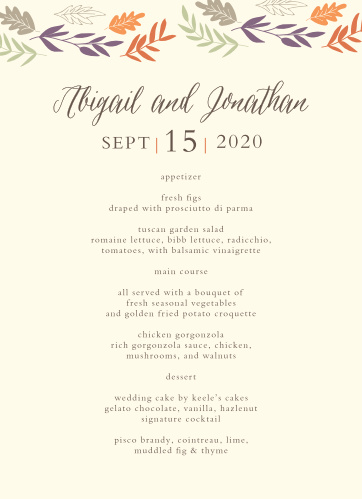 Fall Harvest Wedding Menus