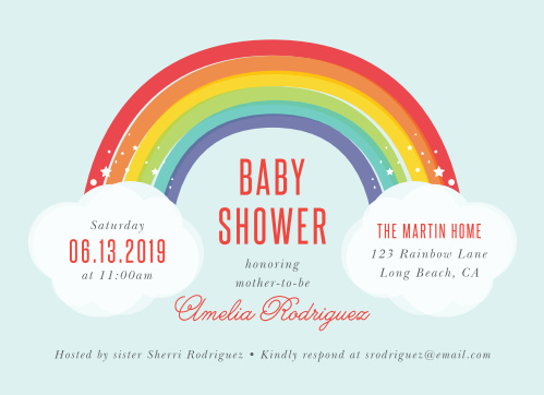 Rainbow Bright Baby Shower Invitations