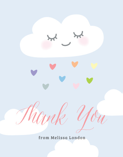 Rainbow Cloud Baby Shower Thank You Cards