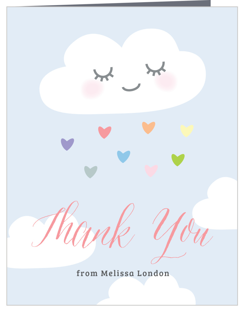 Rainbow Cloud Baby Shower Thank You Cards by Basic Invite