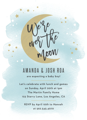 dcf9334f0b4 Over the Moon Baby Shower Invitations