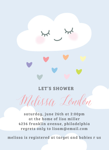 Rainbow Cloud Baby Shower Invitations
