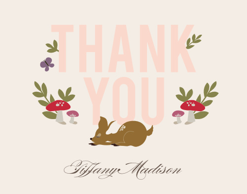 Woodland Deer Baby Shower Thank You Cards
