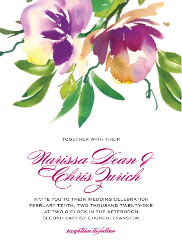 Fresh Cut Flowers Wedding Invitations