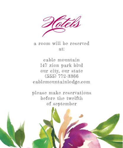 Fresh Cut Flowers Accommodation Cards