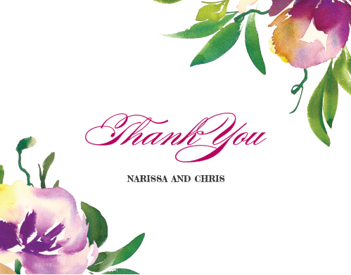 Fresh Cut Flowers Wedding Thank You Cards
